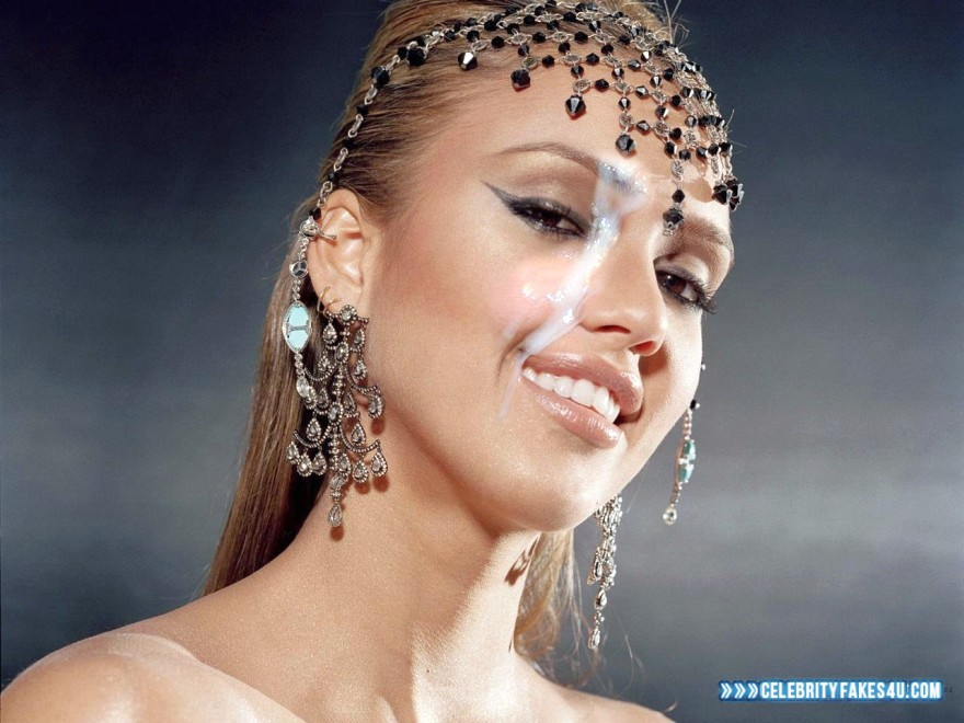 Jessica Alba Horny Facial Cumshot Fake 001