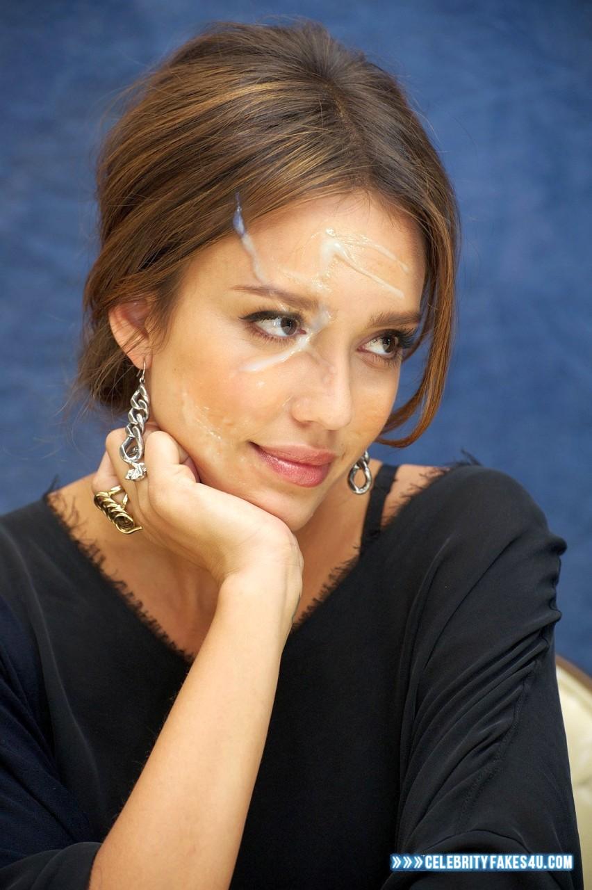 Jessica Alba Horny Cum Facial Fake 001 « CelebrityFakes4u.com